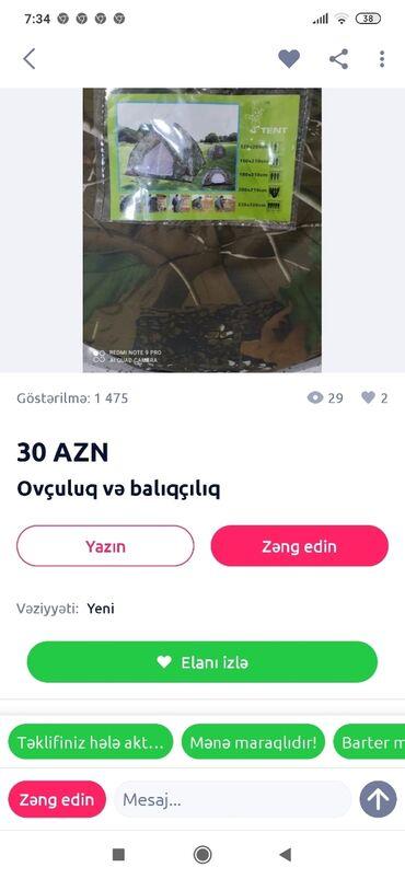 İdman və istirahət - Aşağı Güzdək: Çadır kamp mənə bunun 1 nəfərlik çun olani lazım . Kimdə varsa yazsın