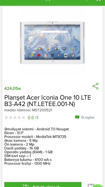 Электроника в Гобустан: Planşet Acer Tam zəmanətləNəğd və 1 kartla ödəniş imkanı1 kartla 18