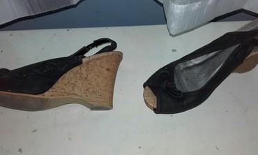 Crne sandale sa plutom, obuvene jednom, broj 38. - Beograd