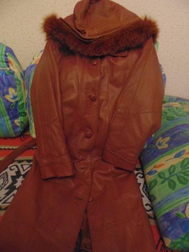 Кожаный плащ-пальто б/у, теплая в Бишкек