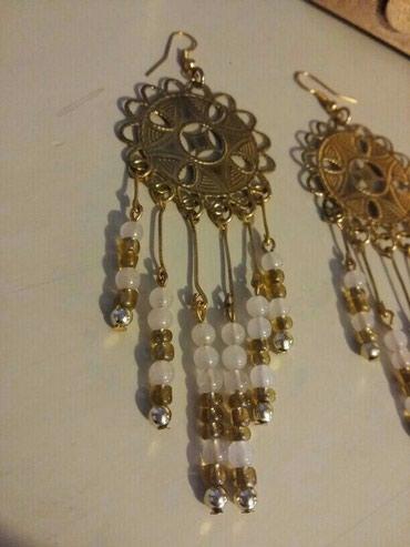 Έθνικ μακρυά σκουλαρίκια χειροποίητα χρυσό /ροζ ,δωρεάν αποστολή σε Δράμα - εικόνες 2
