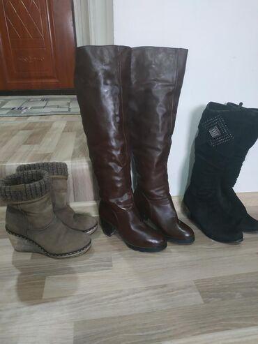 пескоблок размеры бишкек в Кыргызстан: Продаю обувь б/у, коричневые зимние ботфорты размер 36-37, черные