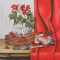 Kuća i bašta | Lebane: Ulje na platnu, blind ram 35x35, sliku kupujete direktnood autora