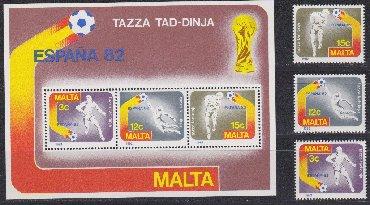 Марки в Азербайджан: Malta * 1982 il * FUTBOL ÜZRƏ DÜNYA ÇEMPİONATI * İSPANİYA * SERİYA *