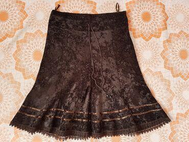 Продаю красивую, велюровую юбку, тёмно коричневого цвета, с оборками