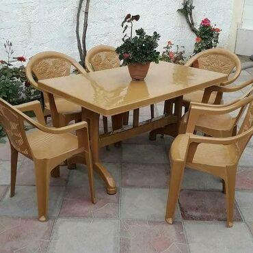Дом и сад - Масазыр: Cox keyfiyetli 6 nəfərlik stol-stul komplekti uzunlugu 130 sm eni 80