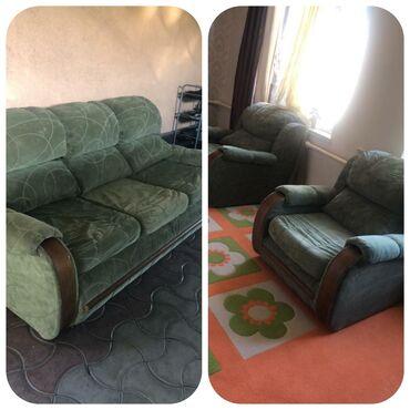 Диваны в Кыргызстан: Комплект зелёных  2 штук коричневых  (⌐■-■)