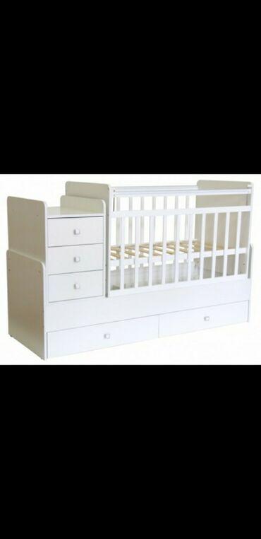 Детская мебель - Бишкек: Продаю кровать- трансформер.МанежКроватьЛюлькаМатрасРазмер 60:170