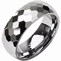 """Кольцо из вольфрама, """"гранённое"""",  ширина 7 мм,  размеры: 16; 16,5; в Бишкек"""