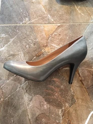 Cm obim tamno sive - Srbija: Tamno sive cipele na stiklu, nove, broj 40