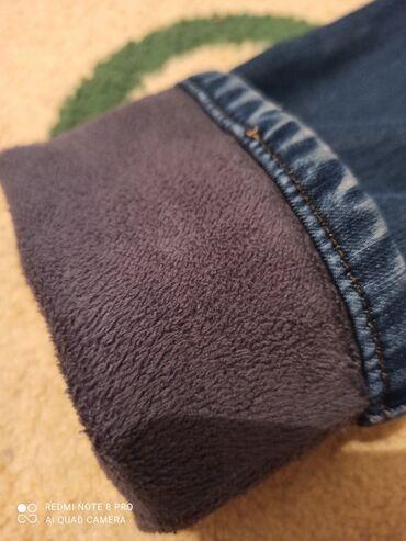 Очень модный корейский джинсы синего цвета с мехом, очень тёплый для