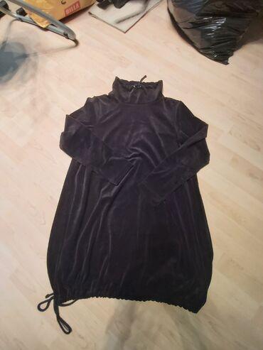 Duks haljina 46, crni plisduzina 87cm,novo
