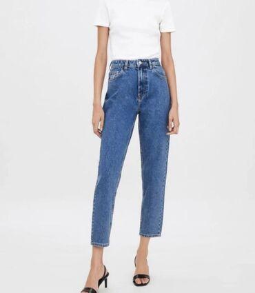 Джинсы Zara МОМ оригинал из плотной джинсы размер 34 посадка