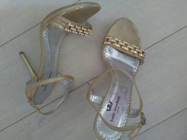 Zenske sandale boje zlata sa belim cirkonima kupljene u Svedskoj , - Pozarevac