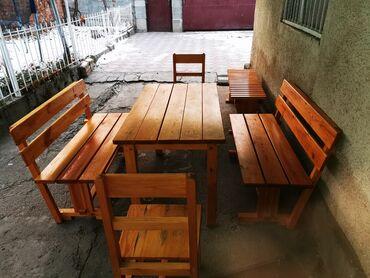 советский раскладной стол в Кыргызстан: Продаётся Набор деревянной мебели. 1 Стол, 2 лавки со спинками, 1