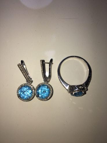 Продаю комплект из белого золота 14к с бриллиантами и топазом в Бишкек