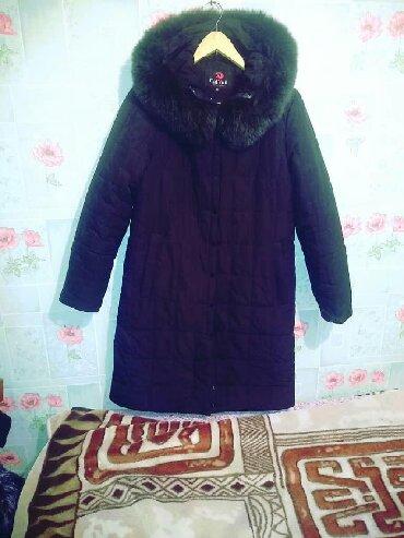 женский пуховик с капюшоном в Кыргызстан: Куртка теплая пуховик корея 50 р капюшон чистый мех темно зеленого