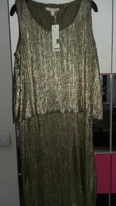Zlatna-haljina-blondy-radnji-placena - Srbija: NOVA Esprit haljina zlatna, vel.l