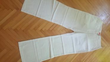 Obim-grudcm-duzina-cm - Srbija: Bele lanene pantalone obim struka 80 obim kukova 100 duzina 104