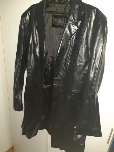 Ženske jakne - Beograd: AKCIJA! Crni kožni mantil-jakna. Nošen samo dva puta, praktično nov