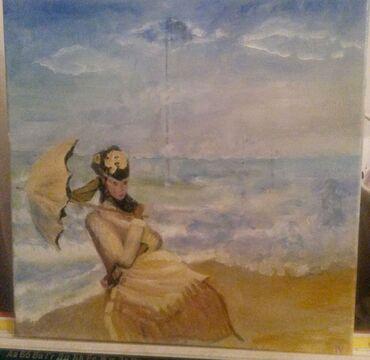 Slike   Sopot: Slika ulje na platnu . Bogat nanos boje. 40x40. Autorka Iv. Tel