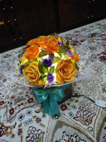 цветы для домашнего декора в Кыргызстан: Цветы в шляпной коробке в виде светильника, ручной работы, для декора