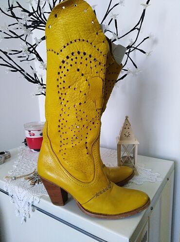 Žute čizme od prave kože, vel 39, u odličnom stanju, veoma atraktivne