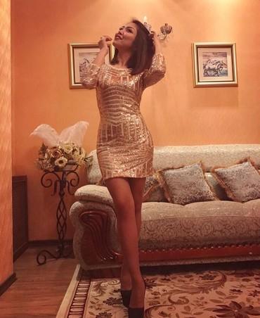 вечернее платье короткие в Кыргызстан: Продаю крутое платье!Короткое золотистое платье-1200 сНадевалось один