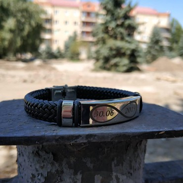Другие украшения - Кыргызстан: Кожаный плетеный браслет с любой надписью. Для заказа пишите w/app