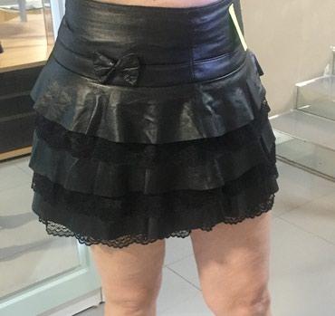 Черная кожаная юбка с оборками, размер в Бишкек