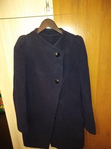 Пальто кашемир отличное состояние отдам за 300сом темно синего цвета