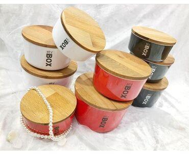 Qab-qacaq Azərbaycanda: Saxlama qabı 3-lü dest Bamboo qapaqlı  Melamin material