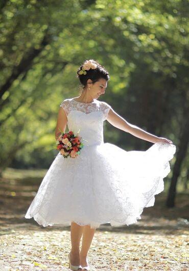 Свадебные платья и аксессуары - Кыргызстан: Продаю свадебное платье 46-48 размер в отличном состоянии! Комфортное