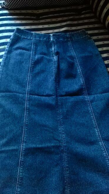 Teksas suknja sa zanimljivim porubom, poluobim struka 38cm, dužina