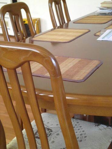 Продаю стол 2.50×1.50 и 6 стульев (карагач). Цвет под Орех ( карагач)
