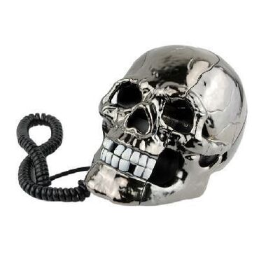 I phone - Ελλαδα: Black Scary Cool Skull Skeleton Shaped Telephone Corded Phone with