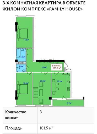 кок-жар-квартира в Кыргызстан: Продается квартира: 3 комнаты, 101 кв. м
