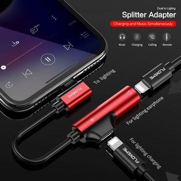 наушники хуавей проводные в Кыргызстан: Аудио адаптер зарядки конвертер для iPhone FLOVEME 2 в 1 для Lightni