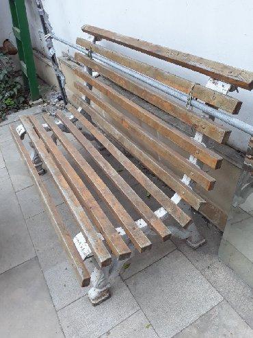 скамейка - Azərbaycan: Скамья садовая. Пятидесятых годов. Массивная.Чугун. Литье. Может