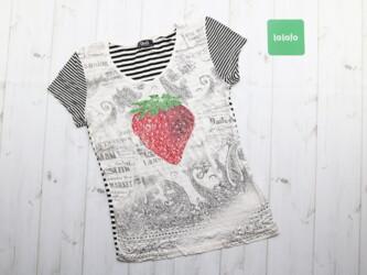 Летняя женская футболка клубника от бренда D&G Длина: 58 см Пог