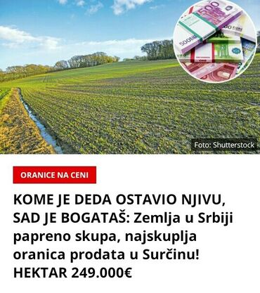 764 oglasa: 5 ares, Poljoprivredno zemljište, Vlasnik