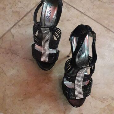 Sandale sa štrasom i visokom štiklom, 15 cm,kao nove, samo jednom