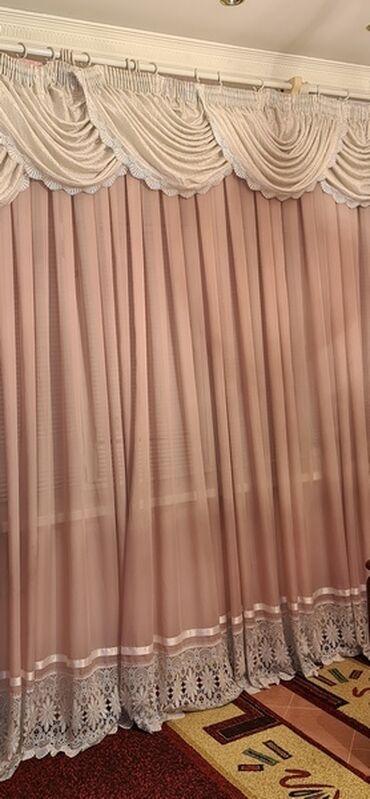 Штора с ламбрекеном, ширина 320 см, высота 270 см, розово белая, б/у