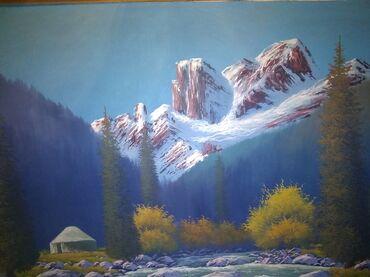 Картина (холст, масло), размер 120×80 см, вместе с рамкой (дерево)-
