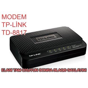 Bakı şəhərində Modem TP-Link TD-8817. Wi-Fi-sızdır. Yəni ancaq qoşulan kompüteri