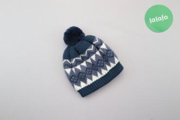 Дитяча зимова шапка з візерунком та помпоном     Колір: синій Довжина