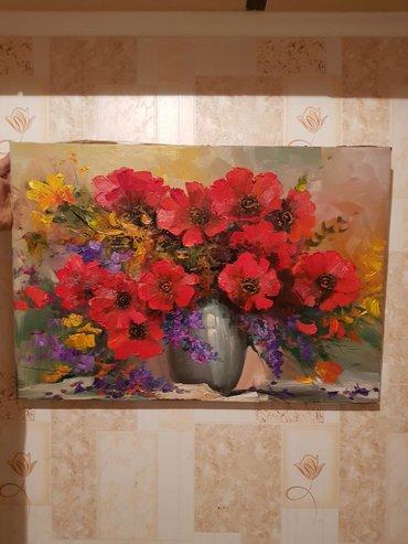 Картина маслом. Алые маки Размер картины 50 × 70 см.   Без рамки 450