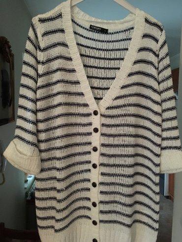 Nov končani džemper na raskopčavanje, veličina xl, beli sa teget - Belgrade