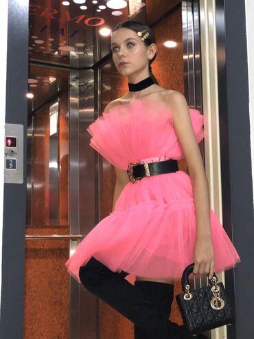 Svečana haljina TOP pink M/L veličina, sa kaišem odgovara cak i