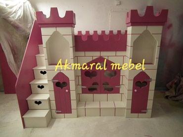 Детская мебель в Кок-Ой: Двухъярусный кровать N:056 Дворец . размер матраса 190/80см. материал